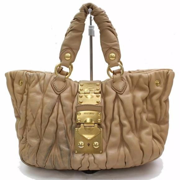 Authentic Miu Miu Matelasse Leather in Tan d37278cb096ab